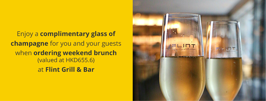 Enjoy a complimentary glass of champagne for you and your guests at Flint Grill & Bar